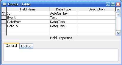 Table definition for Calendar web application