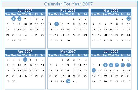 Sample output of calendar for year 2007