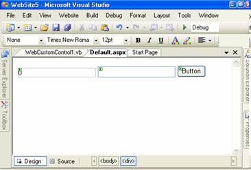 Custom control on web form