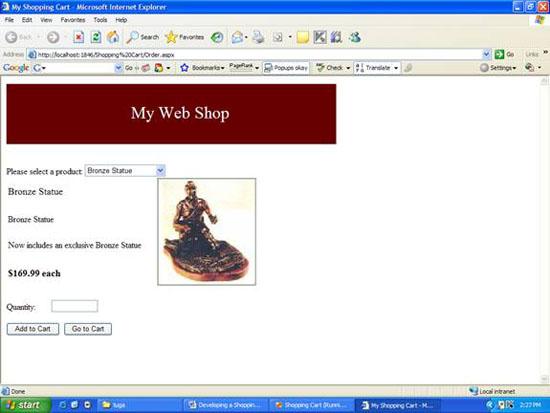 Shopping cart sample