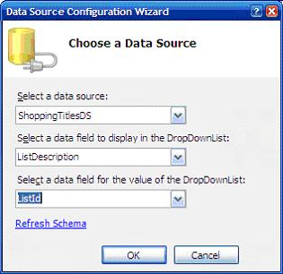Then, select the datasource to be assigned to the datalist and select the fields as specified in the figure
