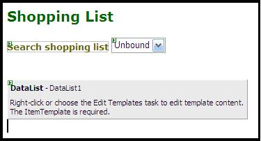Using a dropdown list for populating available shopping lists, and datalist for populating the list of items.